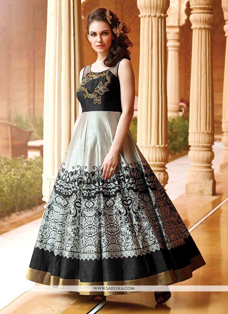 Black modern dress - Modern Art Silk Black Print Work Designer Reprica Gown