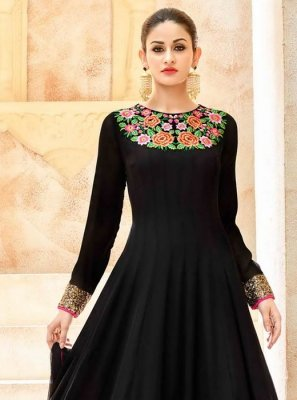 Resham Work Faux Georgette Black Floor Length Anarkali Suit