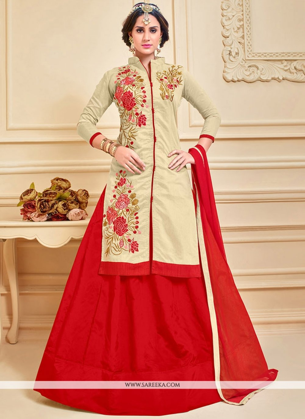 Chanderi Cotton Beige and Red Long Choli Lehenga