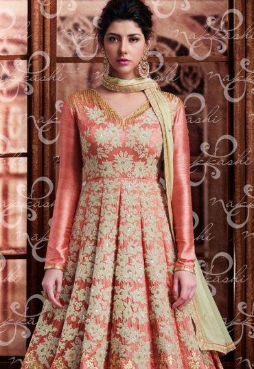 700325c857 Most Popular | Peach Bridal Lehenga Choli, Peach Color Bridal ...