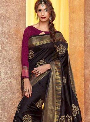 Cotton Silk Black Embroidered Work Traditional  Saree