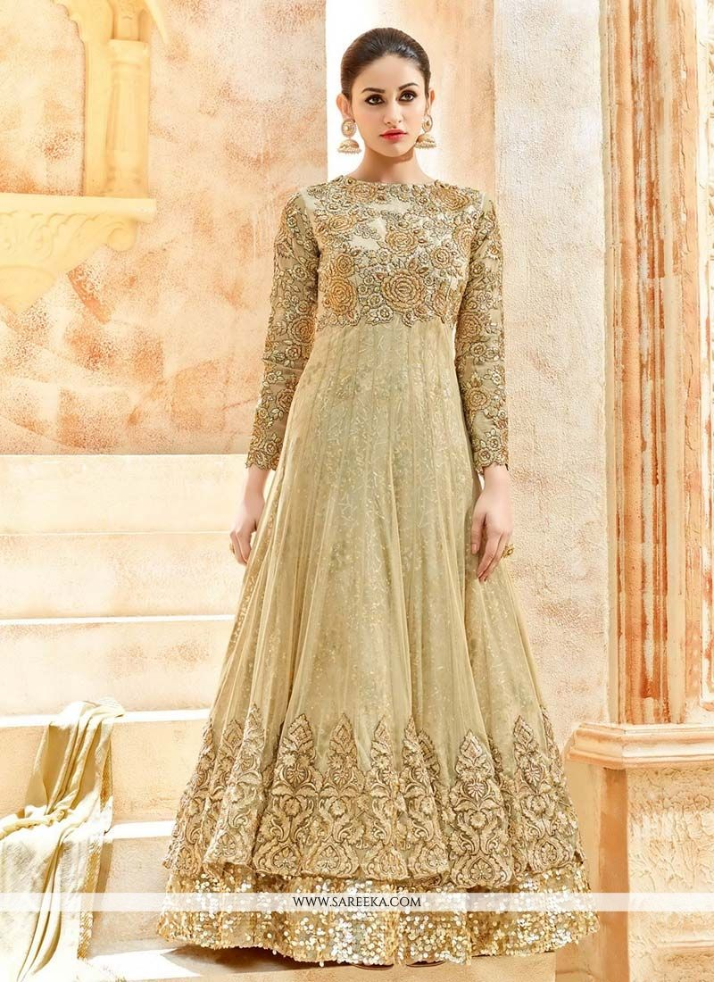 buy beige net floor length anarkali suit online at lowest