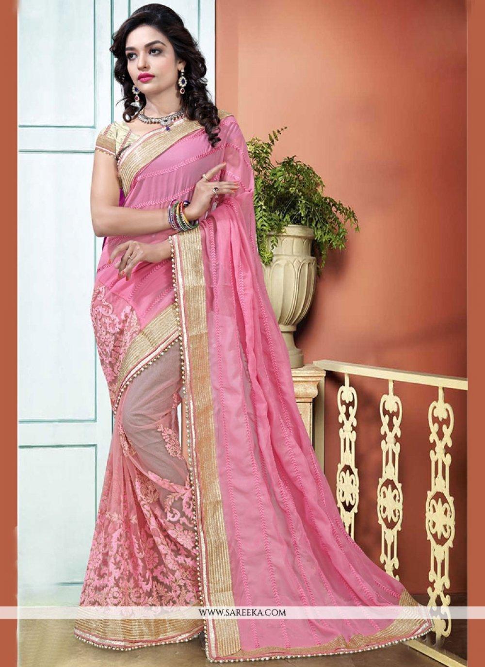 Pink Patch Border Work Designer Half N Half Saree