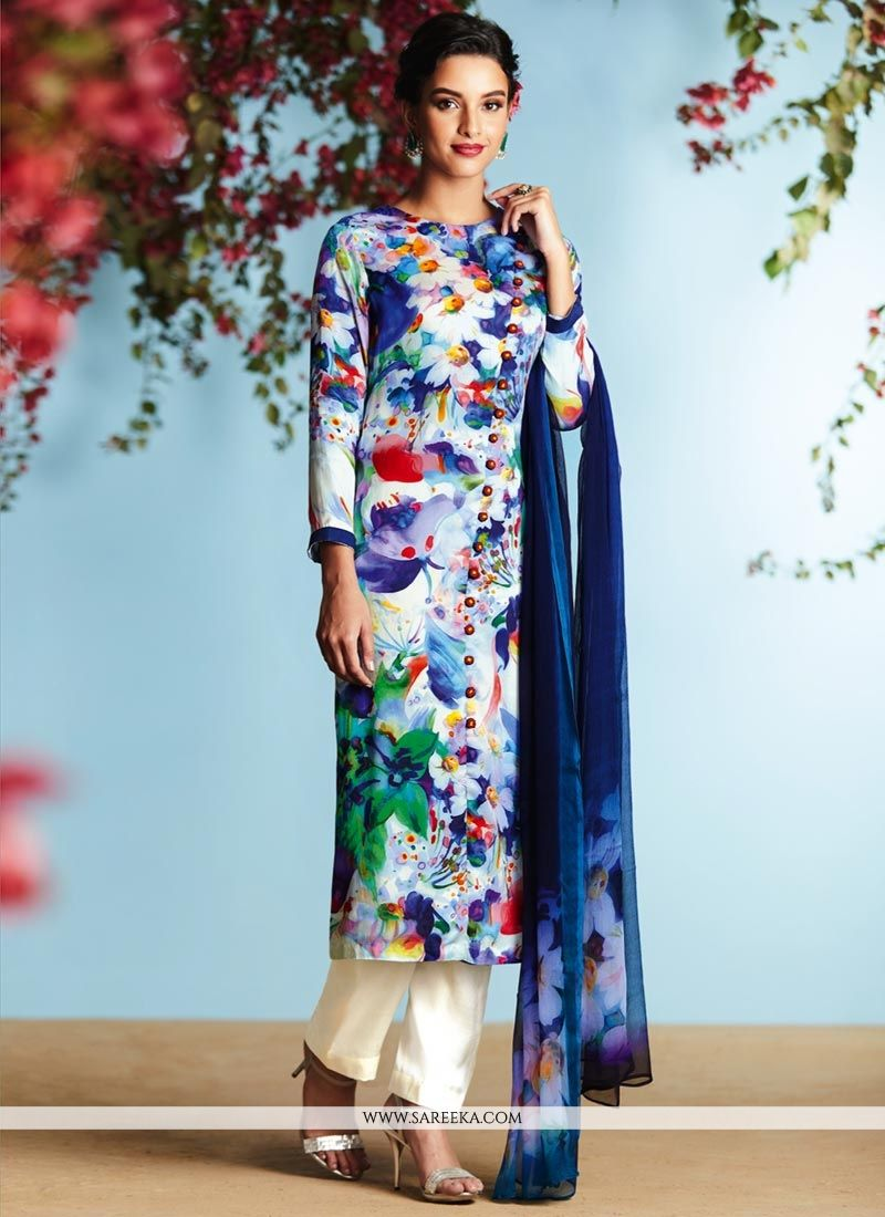Buy Digital Print Work Satin Designer Palazzo Suit Online ...