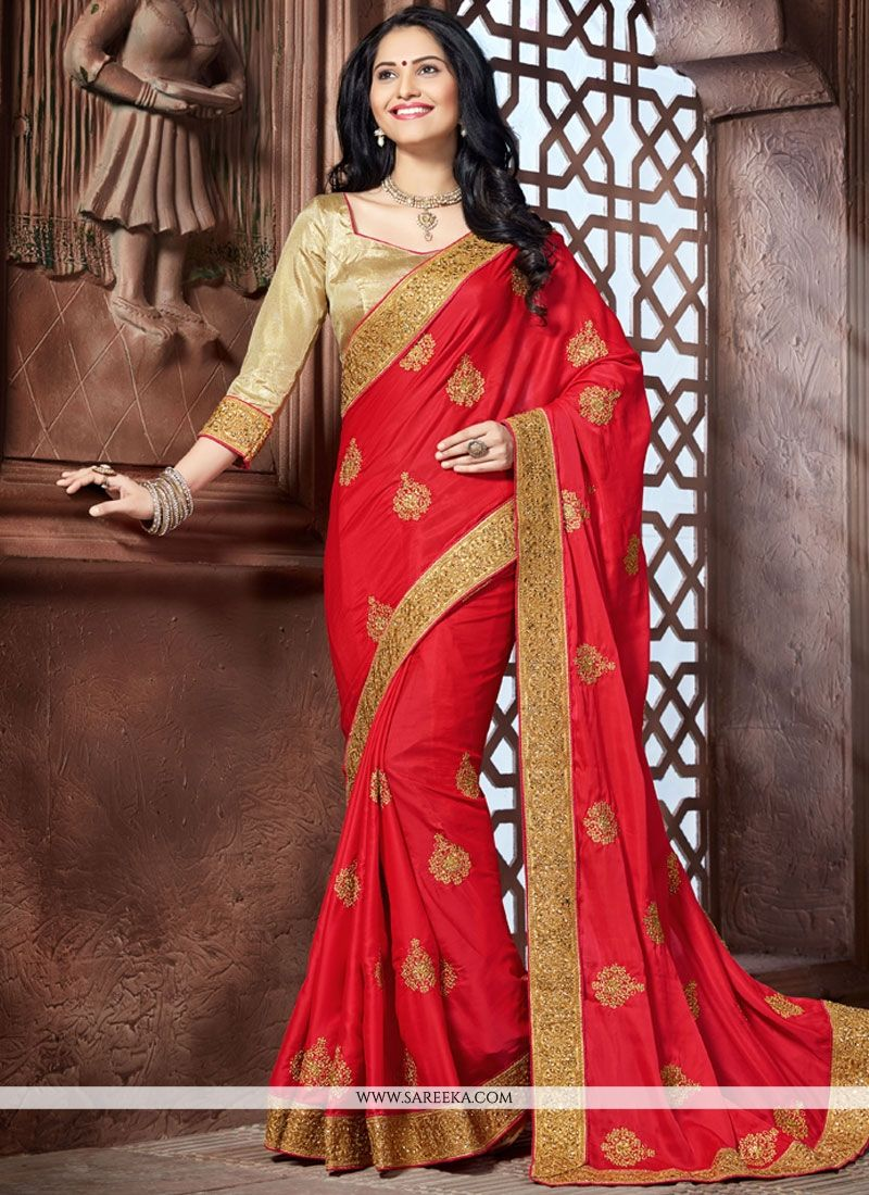 Faux Crepe Red Embroidered Work Classic Designer Saree