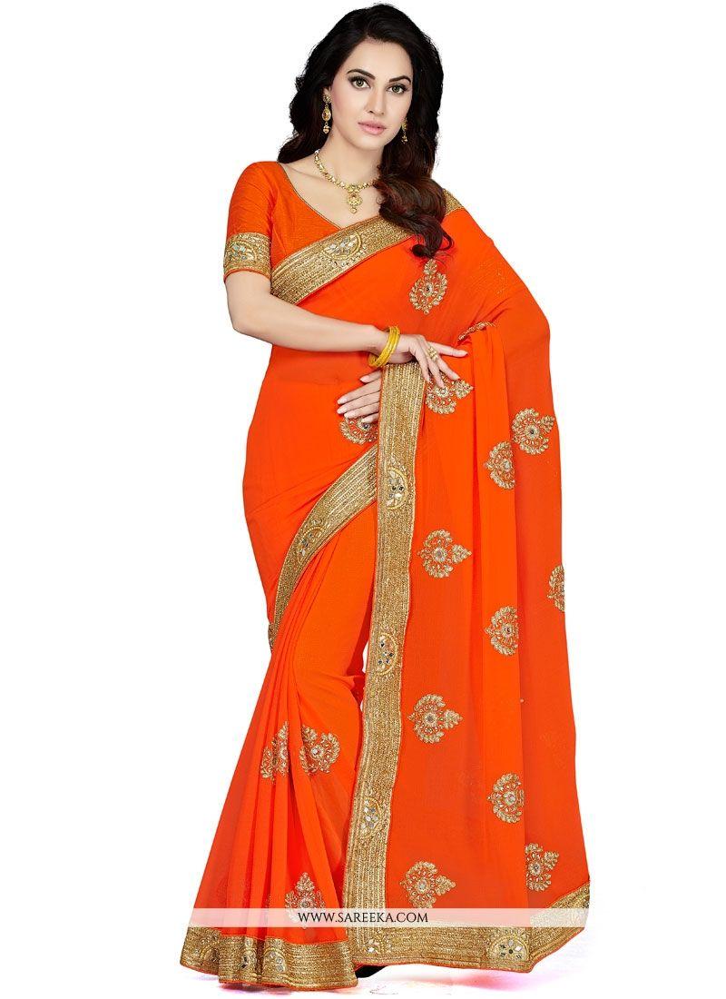 f2f6889477ffae Buy Orange Embroidered Work Faux Chiffon Designer Saree Online : India -