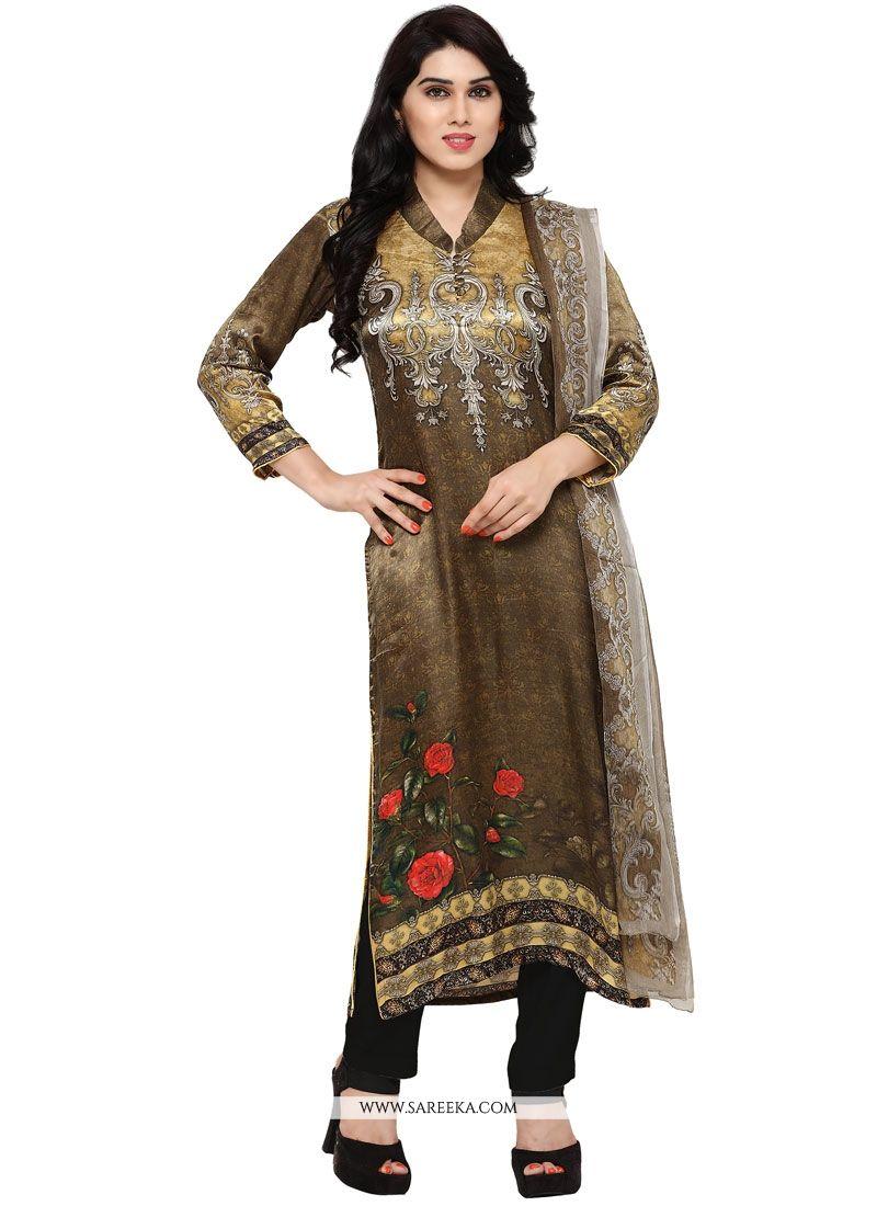 Multi Colour Art Silk Churidar Designer Suit