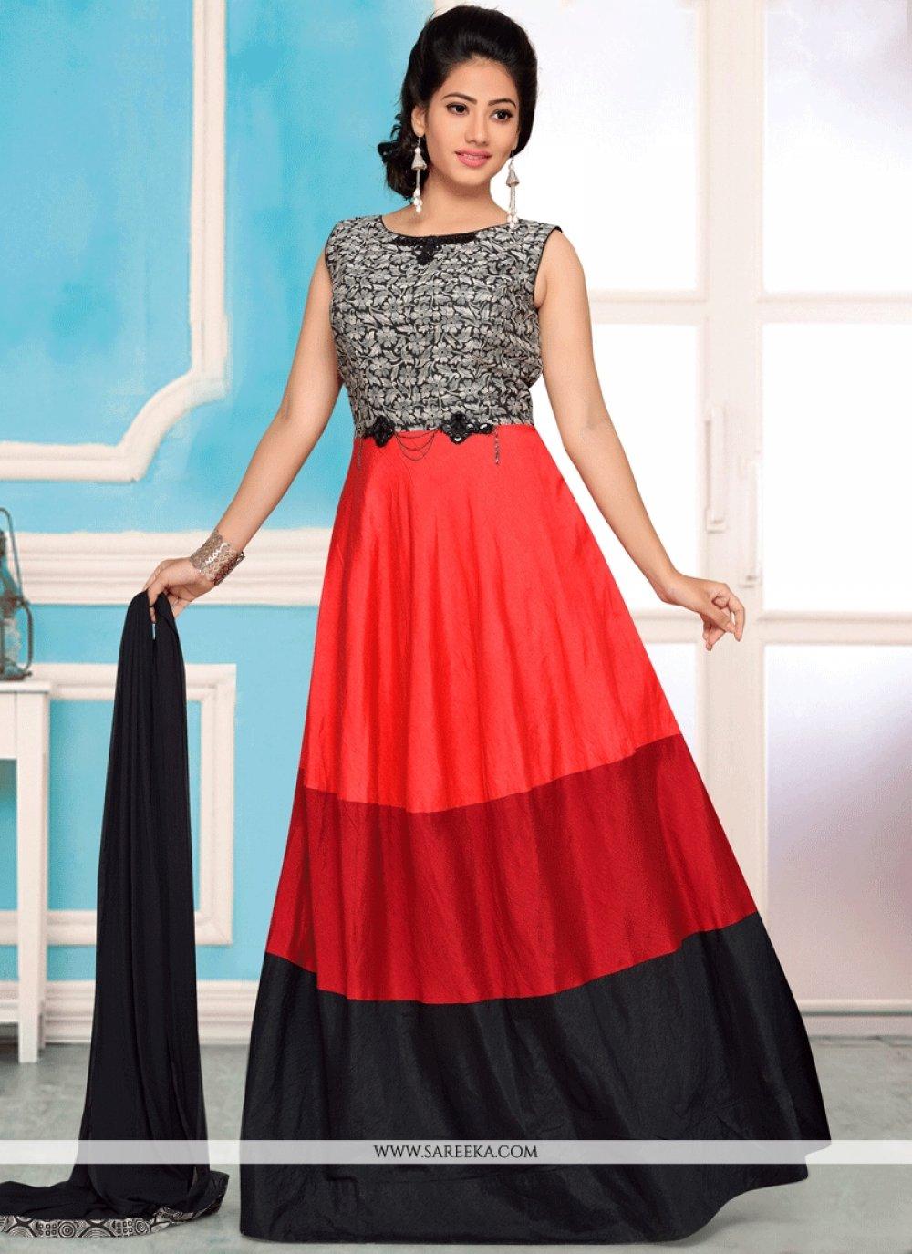 Multi Colour Art Silk Readymade Anarkali Suit