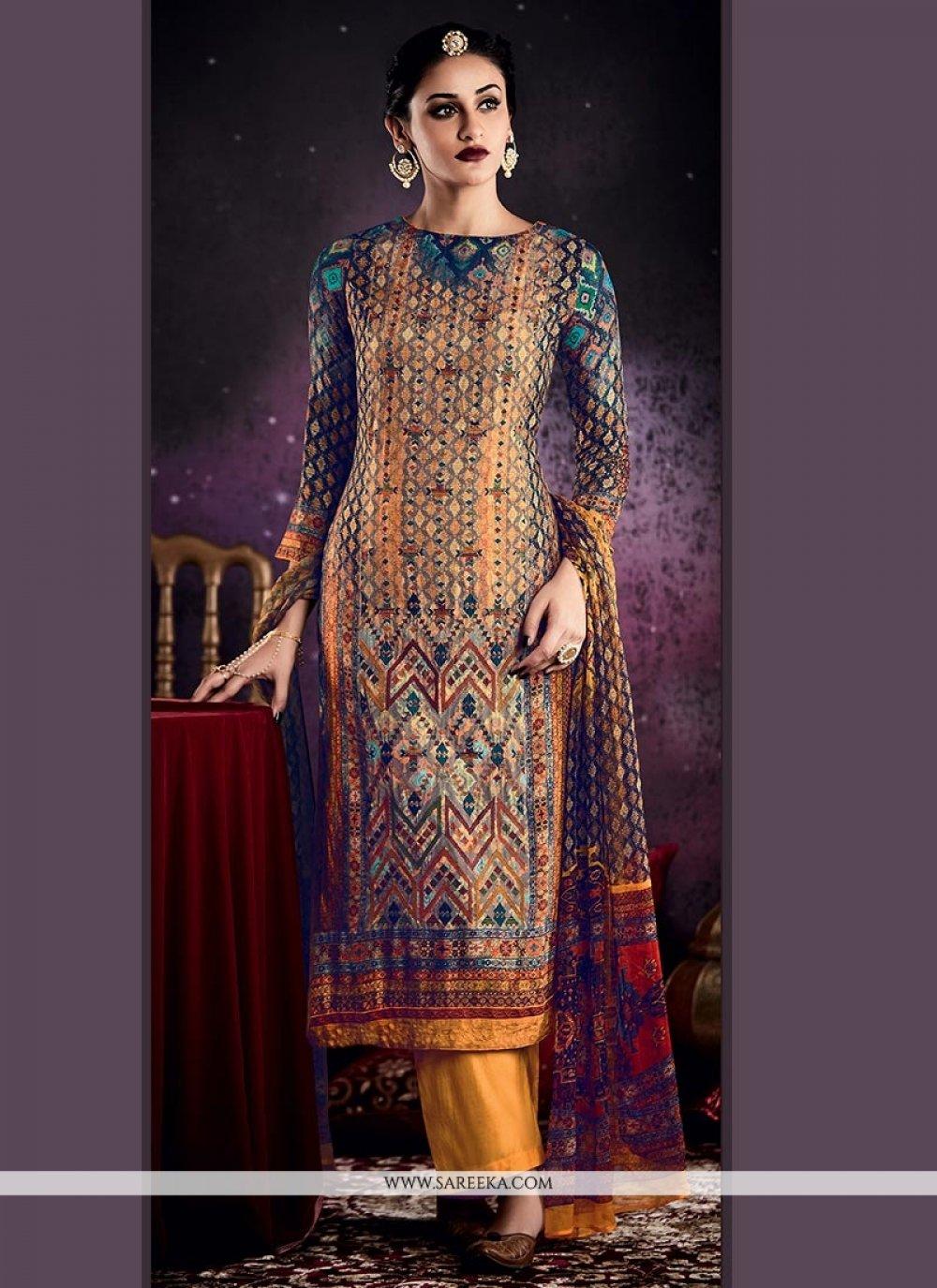 Multi Colour Digital Print Work Designer Palazzo Suit
