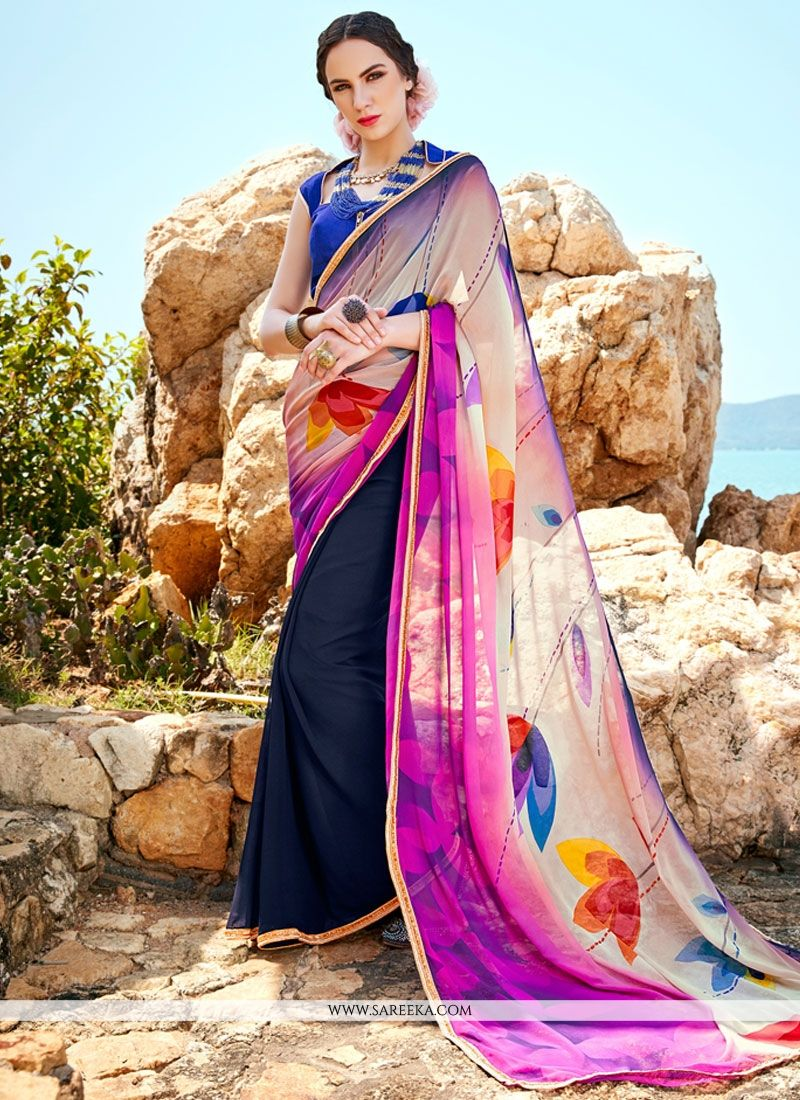 c9ab7a90607 Buy Multi Colour Digital Print Work Faux Georgette Printed Saree Online    Malaysia -