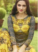 Multi Colour Fancy Fabric Floor Length Anarkali Suit