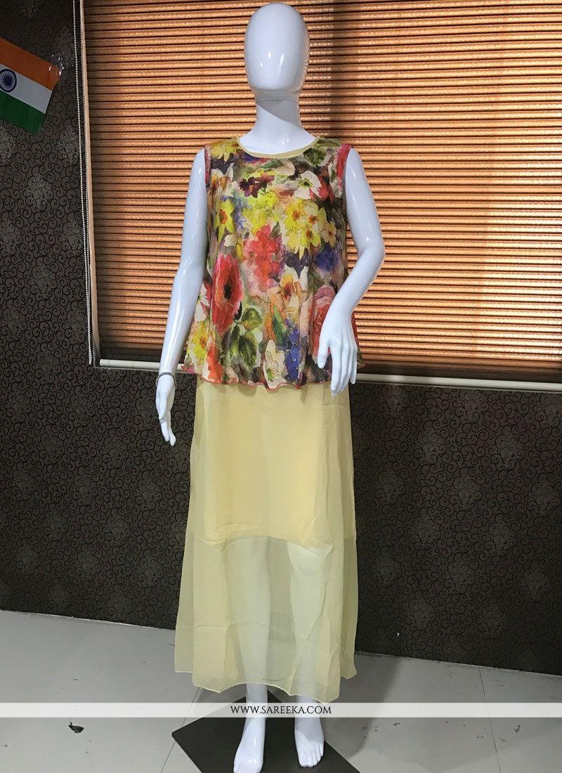 Multi Colour Faux Georgette Party Wear Kurti