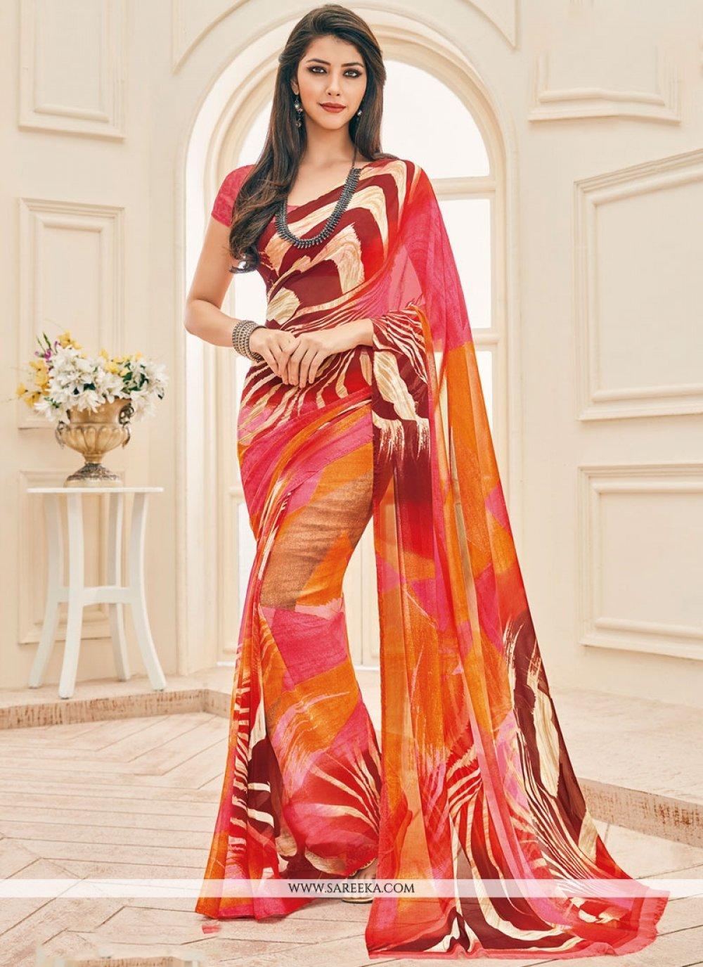 Multi Colour Faux Georgette Printed Saree