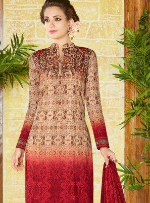 Multi Colour Print Work Cotton   Churidar Designer Suit