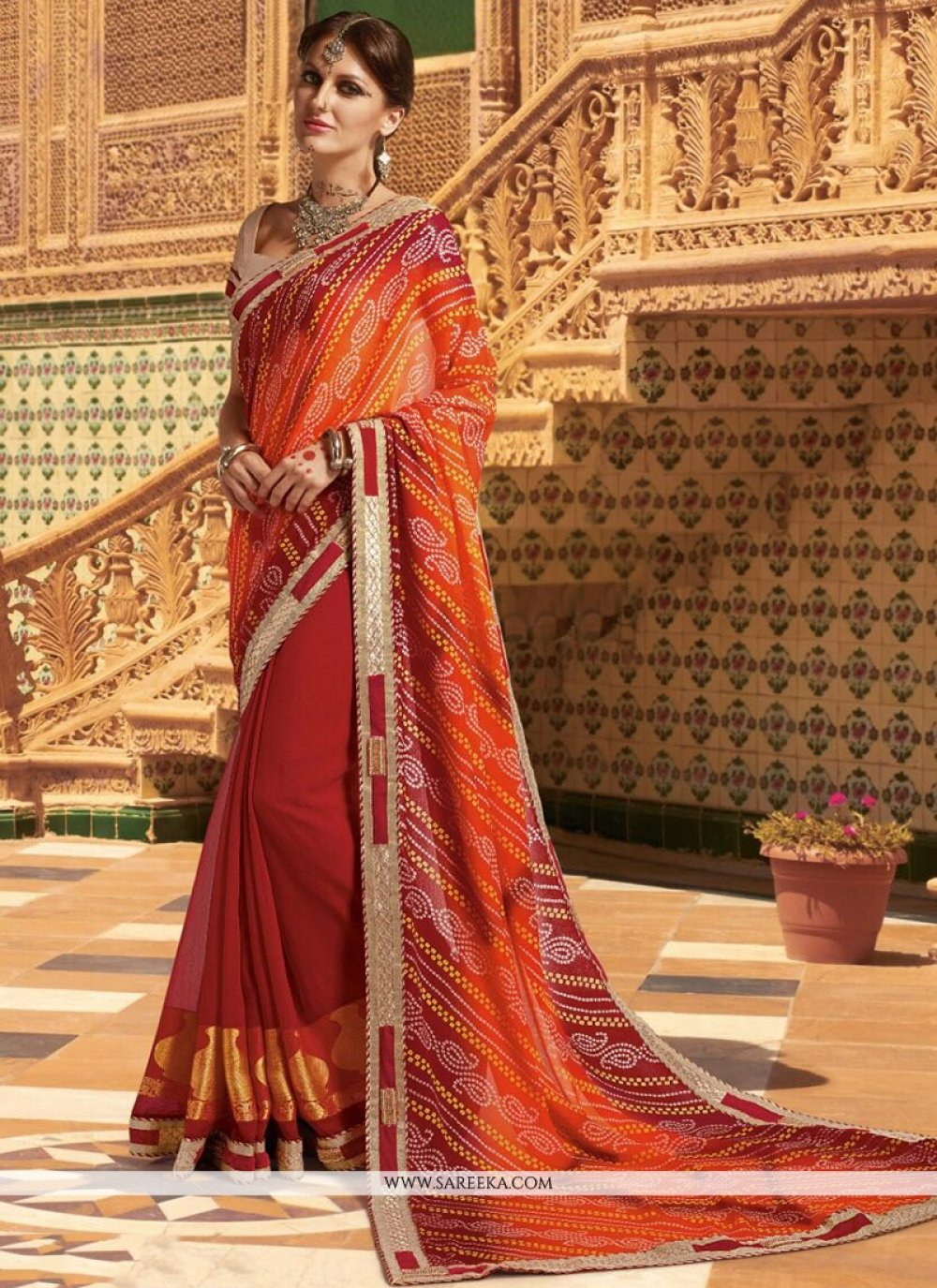 Multi Colour Print Work Faux Georgette Printed Saree