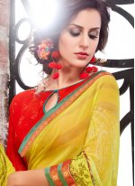 Multi Colour Print Work Printed Saree