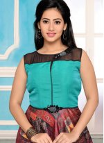 Multi Colour Print Work Readymade Anarkali Suit