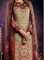 Multi Colour Tussar Silk Palazzo Designer Suit