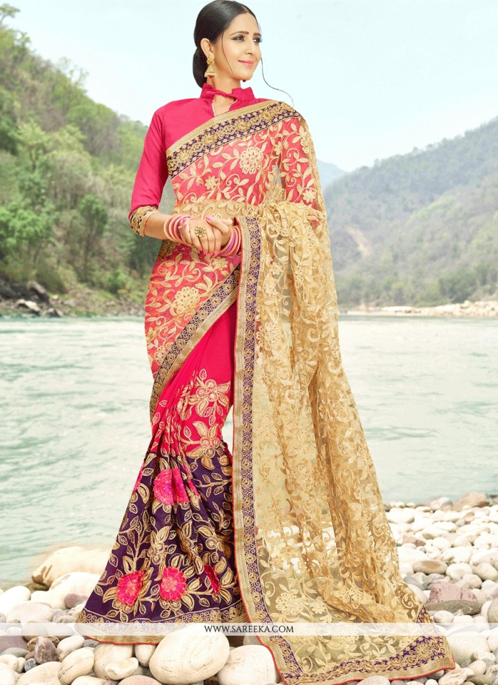 Multi Colour Zari Work Designer Half N Half Saree