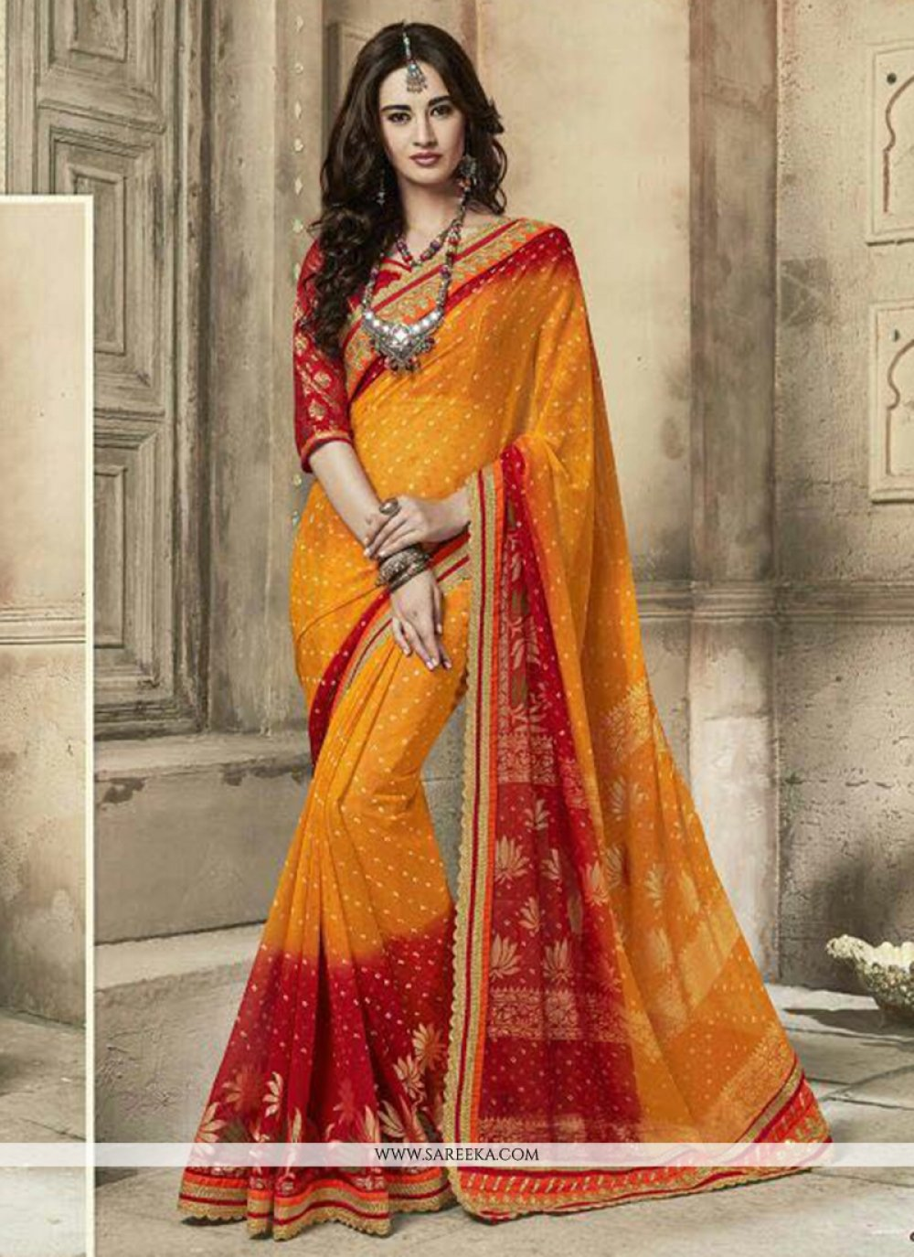 Mustard and Red Faux Georgette Classic Saree