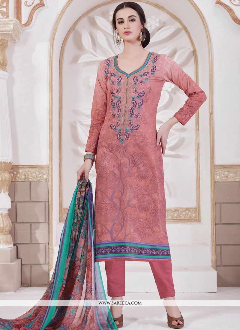 Cotton   Multi Colour Embroidered Work Pant Style Suit