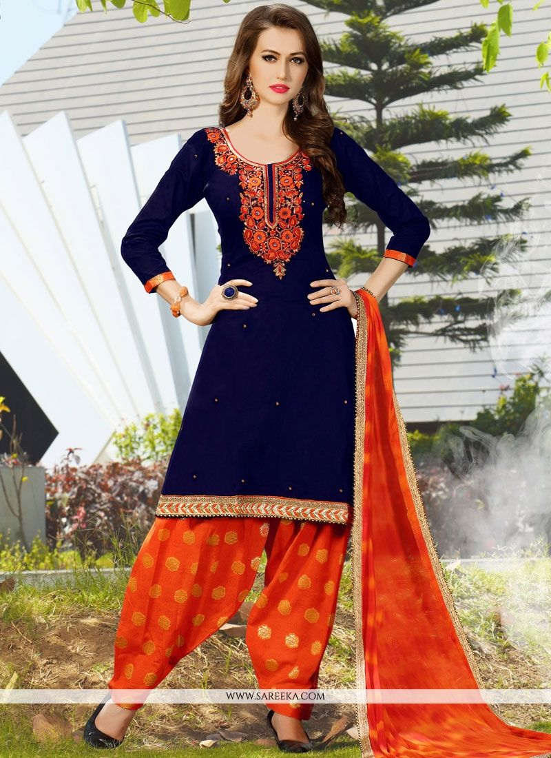 Cotton   Navy Blue and Orange Lace Work Punjabi Suit