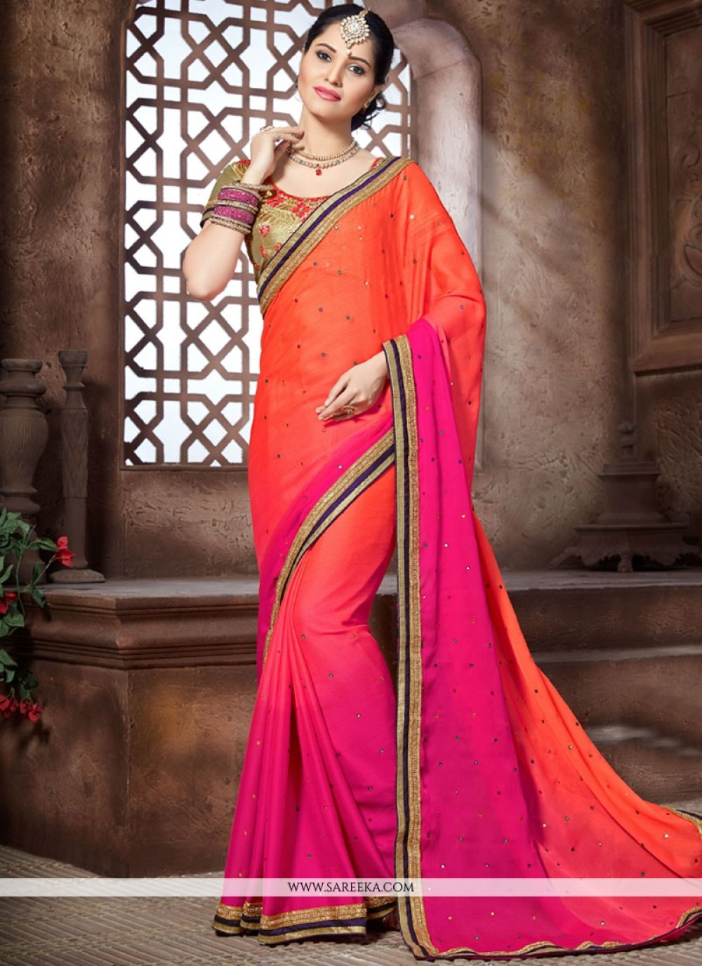 Embroidered Work Hot Pink and Orange Shaded Saree