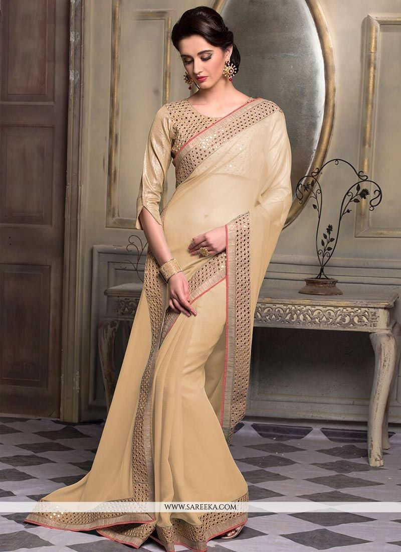 Faux Chiffon Resham Work Saree
