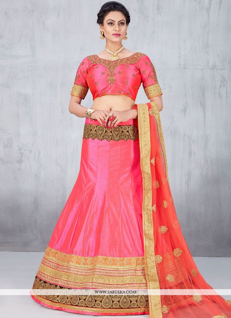 Rose Pink Zari Work Art Silk Lehenga Choli