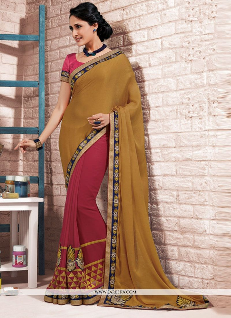 Brown Jacquard Half N Half  Saree