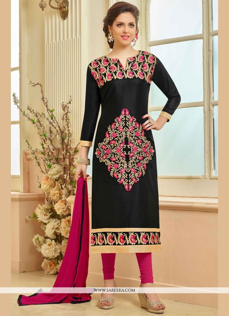 Cotton   Black Embroidered Work Churidar Suit
