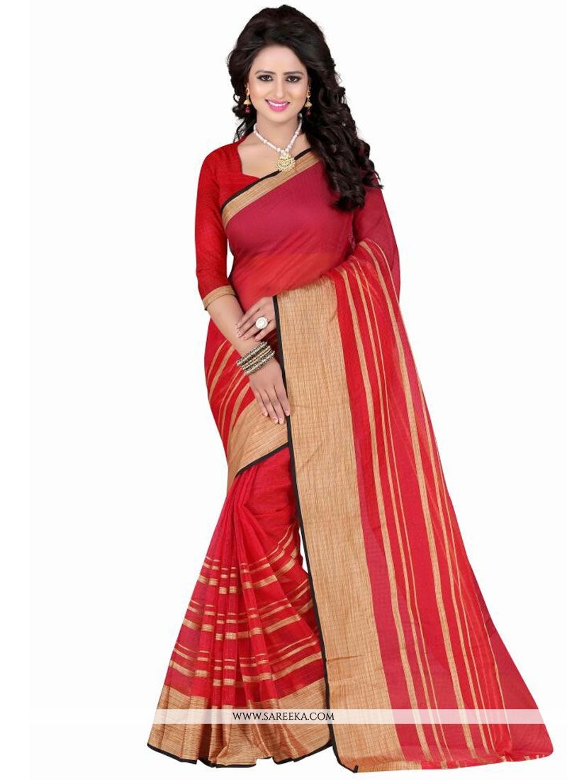Patch Border Work Red Polly Cotton Casual Saree