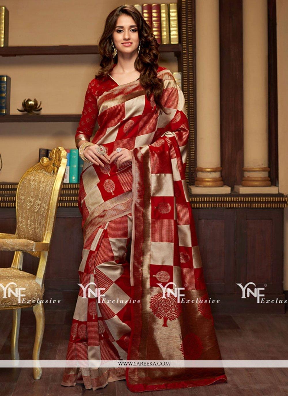 Red Cotton Silk Traditional Designer Saree