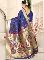Navy Blue Art Silk Designer Traditional Saree