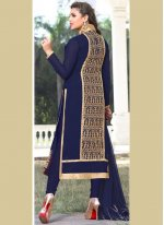 Navy Blue Faux Georgette Churidar Designer Suit
