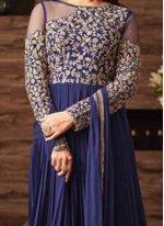 Navy Blue Faux Georgette Floor Length Anarkali Suit
