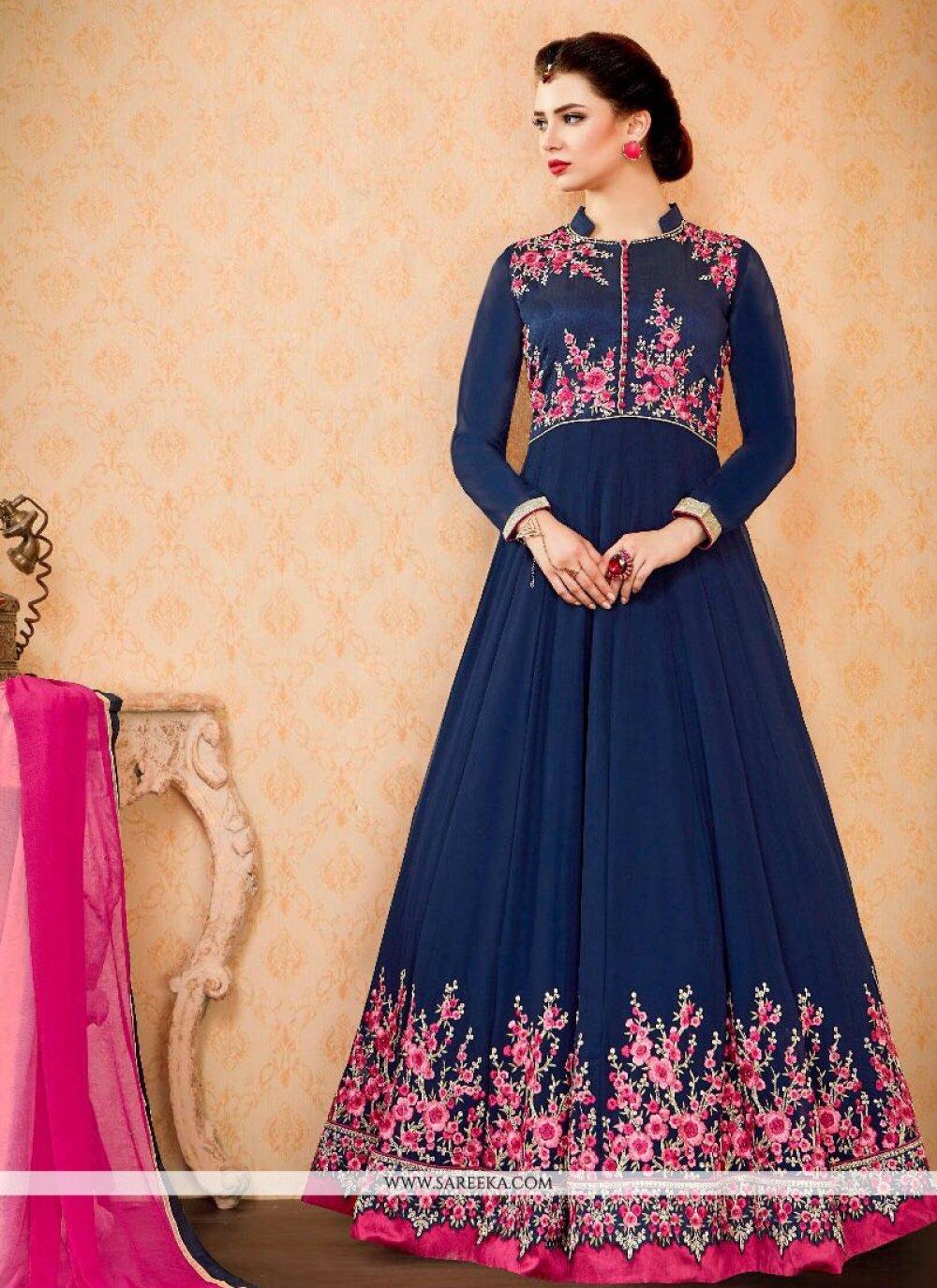 Navy Blue Resham Work Faux Georgette Floor Length Anarkali Suit