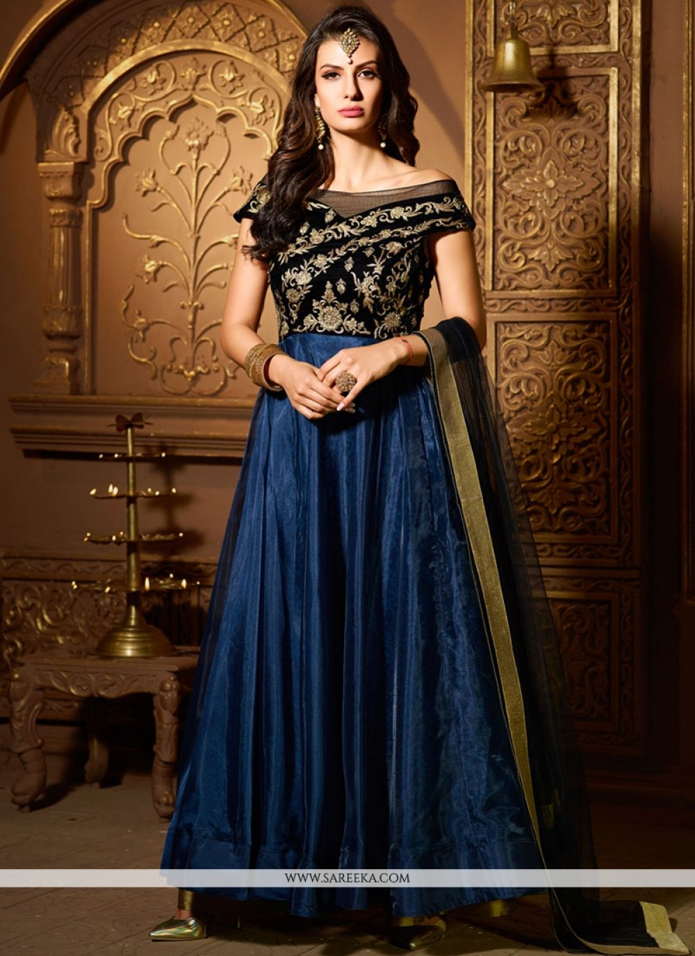 Navy Blue Stone Work Readymade Suit