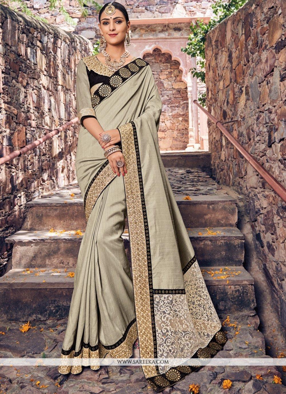 Net Embroidered Work Designer Traditional Saree