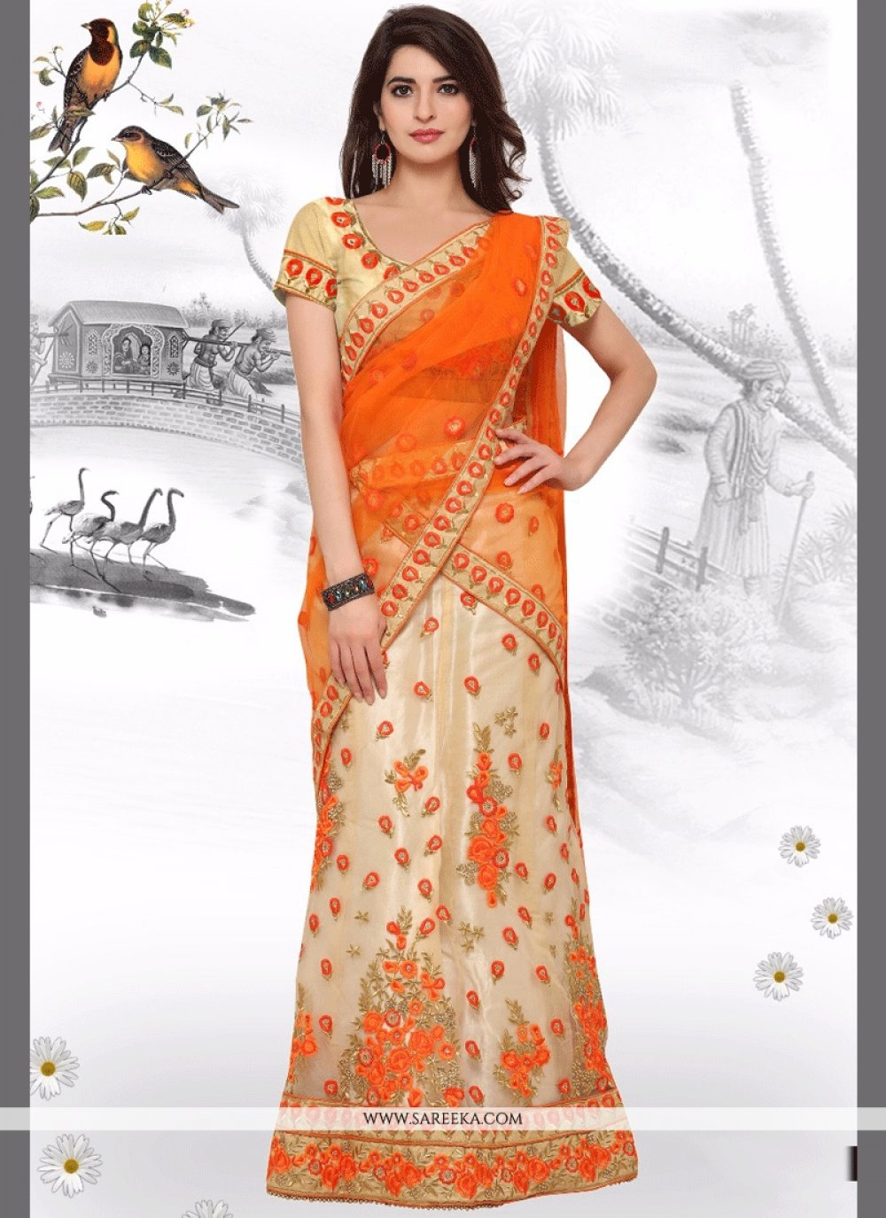 Net Orange Resham Work Lehenga Choli