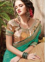Net Patch Border Work Half N Half Designer Saree