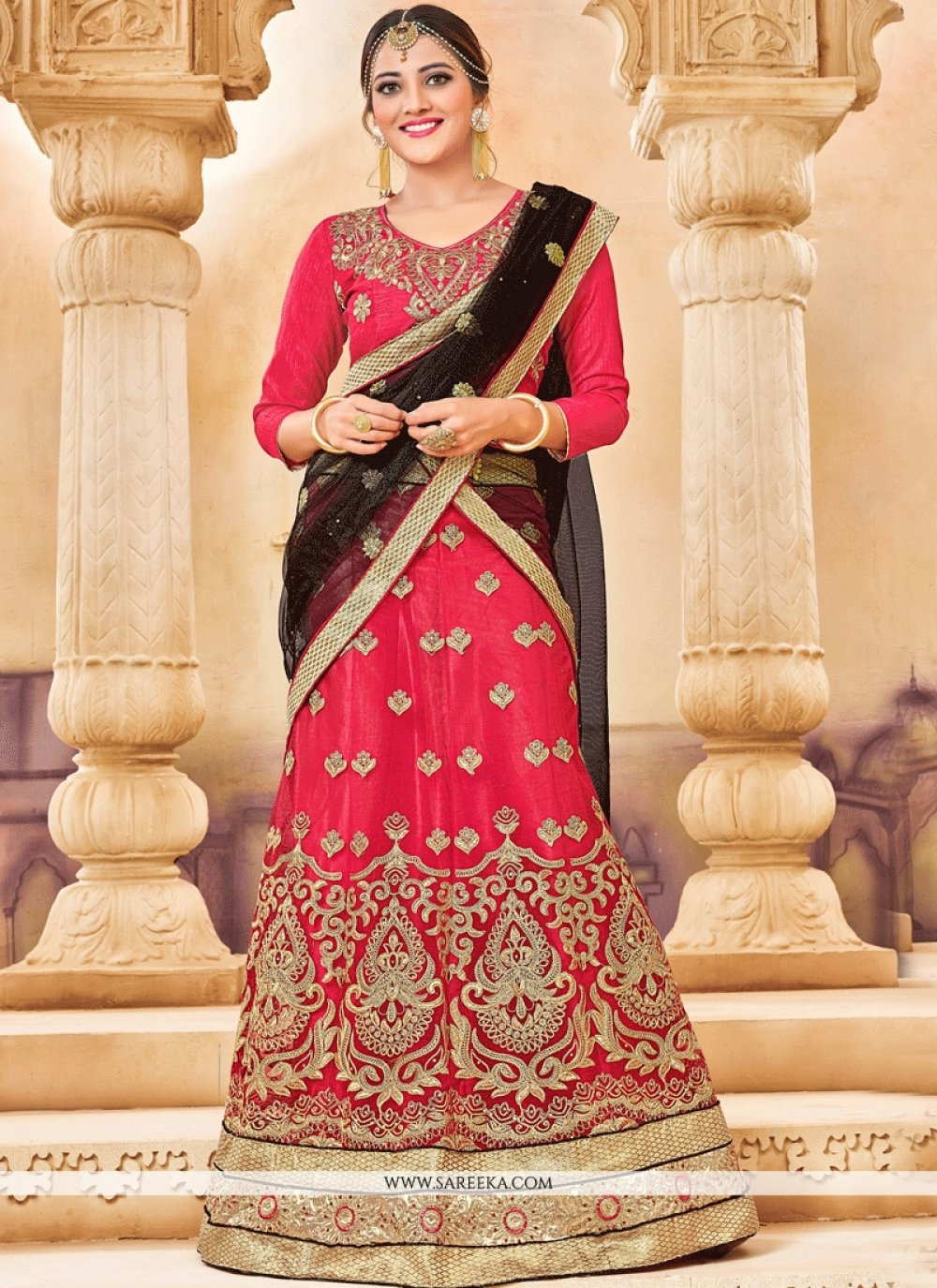 Net Patch Border Work Lehenga Choli