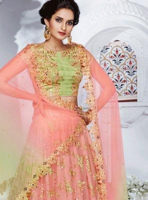 Net Pink Resham Work Lehenga Choli