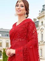 Net Red Classic Saree
