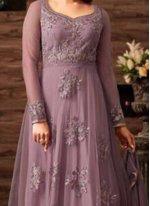 Net Resham Work Floor Length Anarkali Suit