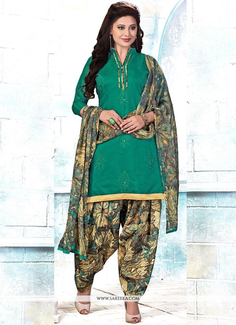 1b48f417fe Buy Cotton Green Embroidered Work Punjabi Suit Online : USA, UK -