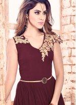 Embroidered Work Faux Georgette Brown Designer Floor Length Salwar Suit