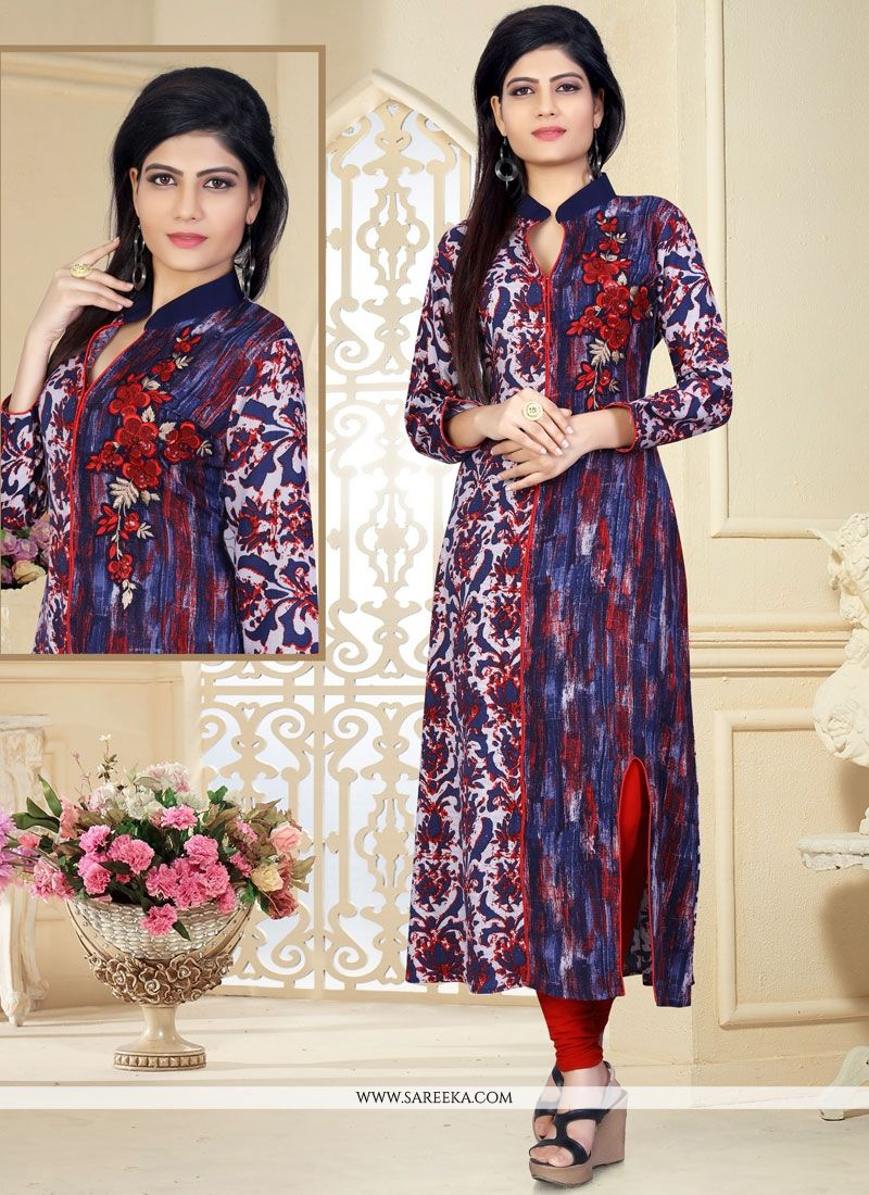 Multi Colour Print Work Rayon Party Wear Kurti