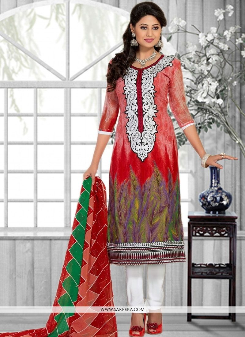 Print Work Faux Chiffon Multi Colour Churidar Suit
