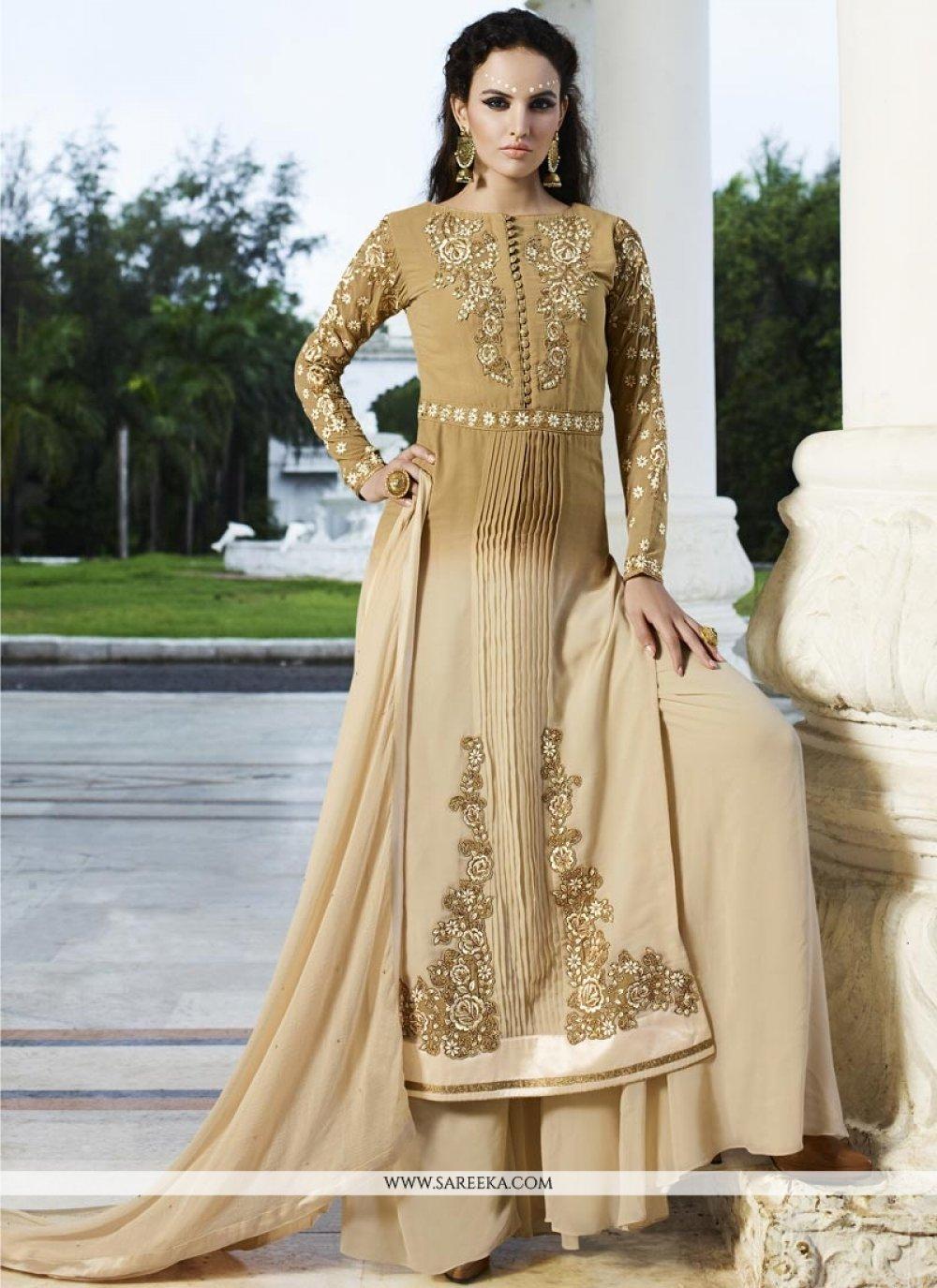 Resham Work Cream Faux Georgette Designer Palazzo Salwar Suit